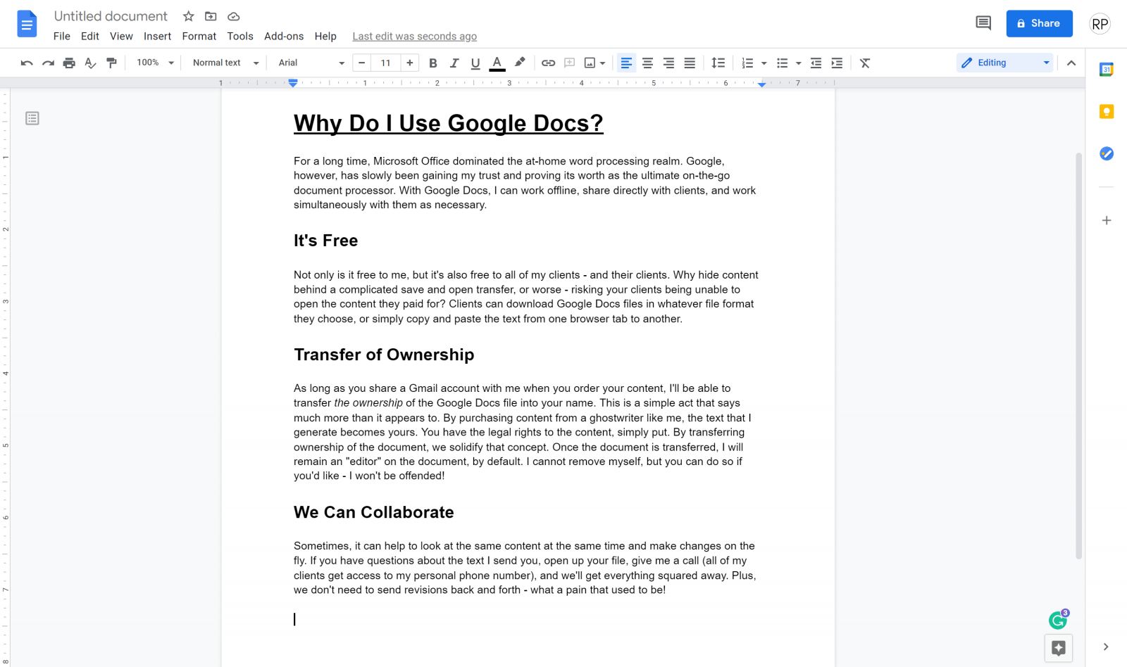why I use google docs for writing and editing content